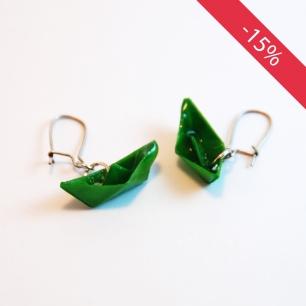 Petits bateaux verts - Boucles d'oreilles