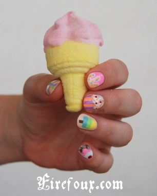 Firefoux-Nail-Art-lime-icecream-glace